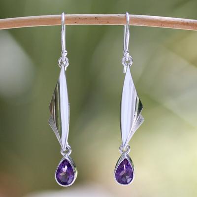 Amethyst dangle earrings, 'On Silver Wings' - Amethyst dangle earrings