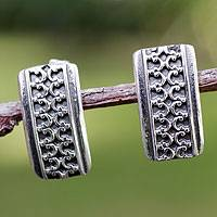 Silver button earrings, 'Imperial' - Silver button earrings