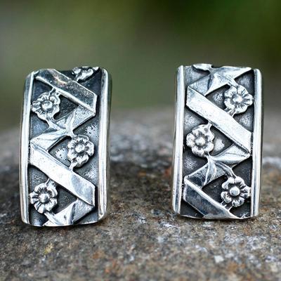 Silver button earrings, 'Blossoming Beauty' - Silver button earrings