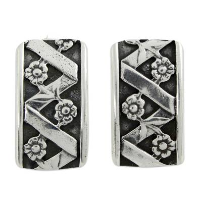Silver button earrings, 'Blossoming Beauty' - Silver button earrings