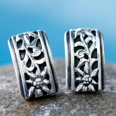 Silver button earrings, 'Taxco Sunflowers' - Silver button earrings