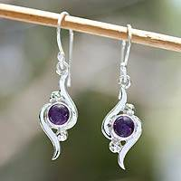 Amethyst dangle earrings, 'Flow'