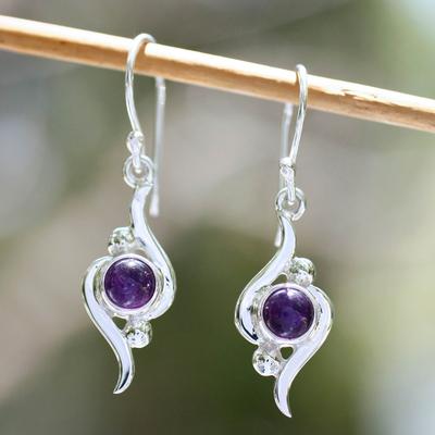 Amethyst dangle earrings, 'Flow' - Amethyst dangle earrings