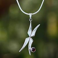 Garnet pendant necklace, 'Fairy Wings' - Garnet pendant necklace