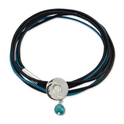 Blue and Black Wrap Bracelet with Sterling Silver and Turquoise Pendant