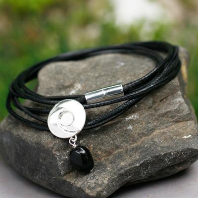 Obsidian wrap bracelet, 'Integration' - Obsidian Wrap Bracelet with 925 Silver Pendant