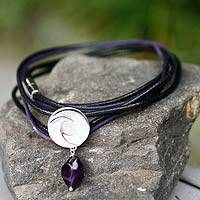 Amethyst wrap bracelet, 'Integration'