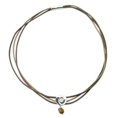 Tiger's eye wrap bracelet, 'Integration' - Tiger's Eye Wrap Bracelet with 925 Silver Pendant