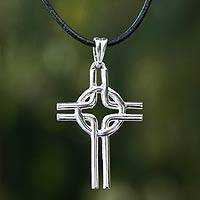 Men's sterling silver cross necklace, 'Celtic Spirit' - Men's sterling silver cross necklace