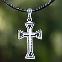 Men's sterling silver cross necklace, 'Byzantine Cross' - Men's sterling silver cross necklace