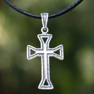 Men's sterling silver cross necklace, 'Byzantine Cross' - Men's sterling silver cross necklace
