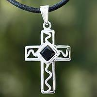 Men's onyx cross necklace, 'My Protector' - Men's Cross Necklace Silver and Onyx on a Leather Cord