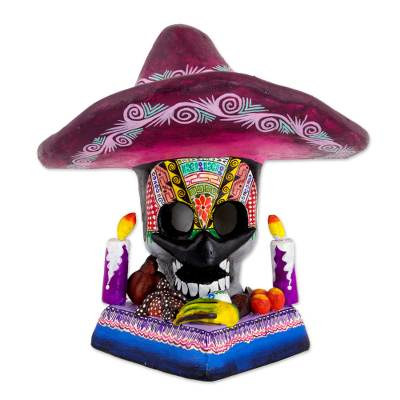 Ceramic sculpture, 'Sombrero Altar' - Day of the Dead Mustachioed Skull Altar from Mexico