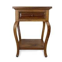 Parota wood end table, 'Colonial Mansion' - Parota Wood End Table from Mexico