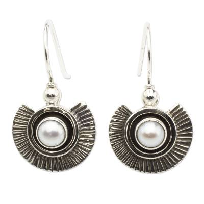 Cultured pearl dangle earrings, 'Teotihuacan Moons' - Artisan Crafted Earrings with Pearls and Sterling Silver