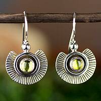 Peridot dangle earrings, 'Teotihuacan Suns' - Sun-Themed Silver and Peridot Earrings