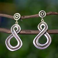 Sterling silver dangle earrings, 'Infinite Abundance' - Handcrafted Sterling Silver Dangle Earrings