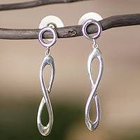 Sterling silver dangle earrings, 'Infinite Beauty' - Modern Taxco Sterling Silver Handmade Earrings
