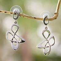 Sterling silver dangle earrings, 'Freedom Song' - Fair Trade Sterling Silver Modern Earrings