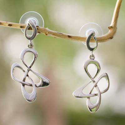 Sterling silver dangle earrings, 'Freedom Song' - Fair Trade Sterling Silver Modern Earrings