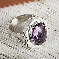 Amethyst cocktail ring, 'Contempo'