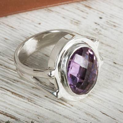 Amethyst cocktail ring, 'Contempo' - Taxco Silver Ring with Amethyst