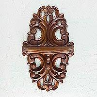 Parota wood wall shelf, 'Colonial Elegance' - Mexican Hardwood Colonial Wall Shelf