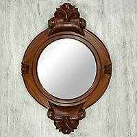 Parota wood wall mirror, 'Colonial Mansion'