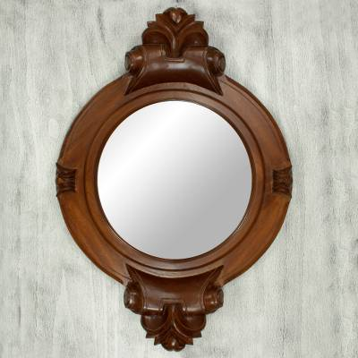 Parota wood wall mirror, 'Colonial Mansion' - Mexican Hardwood Colonial Wall Mirror