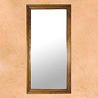 Parota wood wall mirror, 'California Ranch' - Rectangular Minimalist Mexican Hardwood Wall Mirror