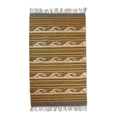 Zapotec wool rug, 'My People's Movement' (2.6x5) - Artisan Crafted Zapotec Wool Rug with Natural Dyes (2.6x5)