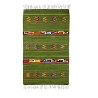 Zapotec wool rug, 'Zapotec Forest' (2.6x5) - Artisan Crafted Zapotec Wool Rug with Natural Dyes (2.6x5)