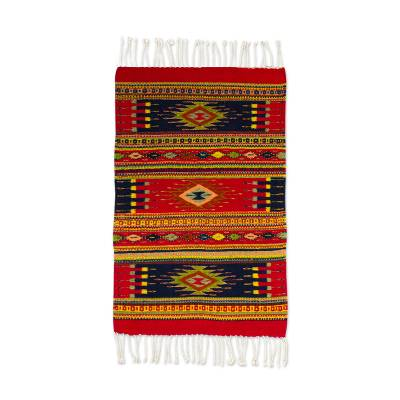 Zapotec wool rug, 'Nature's Palette' (2x3.3) - Artisan Crafted Zapotec Wool Rug with Natural Dyes (2x3)