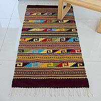 Zapotec wool rug, 'Nature's Rainbow' (2.6x5)