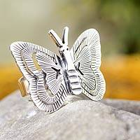 Silver cocktail ring, 'Mariposa' - Butterfly Ring Hand Made Taxco Silver Jewelry