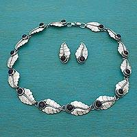 Amethyst jewelry set, 'Laurel Leaf' - Mexican Handcrafted Amethyst and Silver Jewelry Set