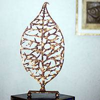 Steel sculpture, 'Golden Leaf' - Handmade Steel Silhouette Golden Leaf Sculpture