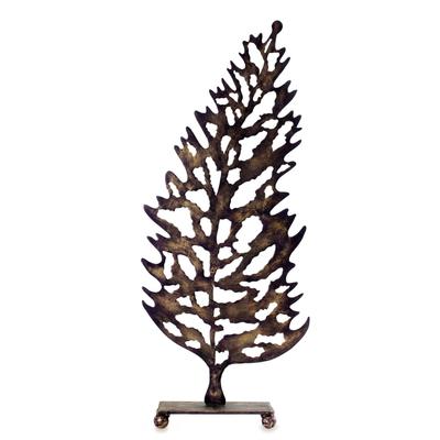 Steel sculpture, 'Leaf Silhouette' - Steel Silhouette Leaf Sculpture Art