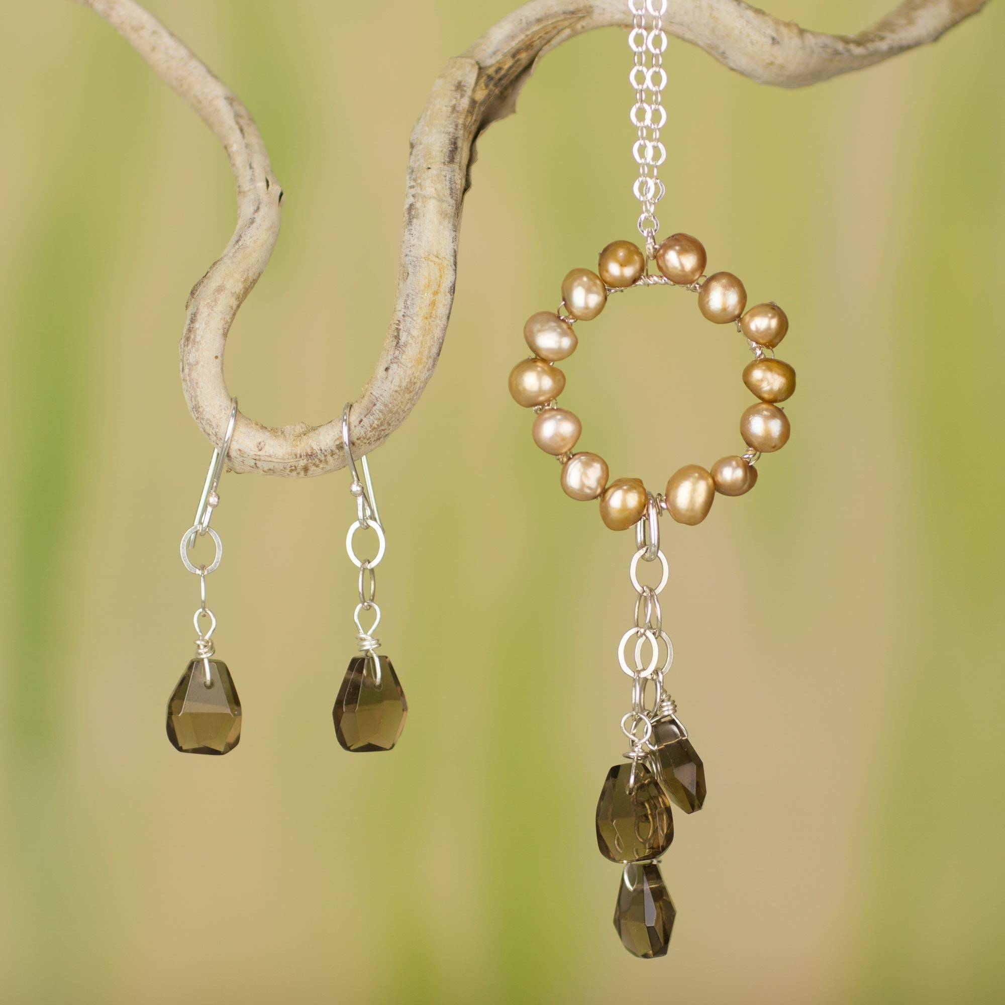 Unicef Uk Market Jewelry Set Pearl And Smoky Quartz Pendant On Silver Chain Clouds At Daybreak