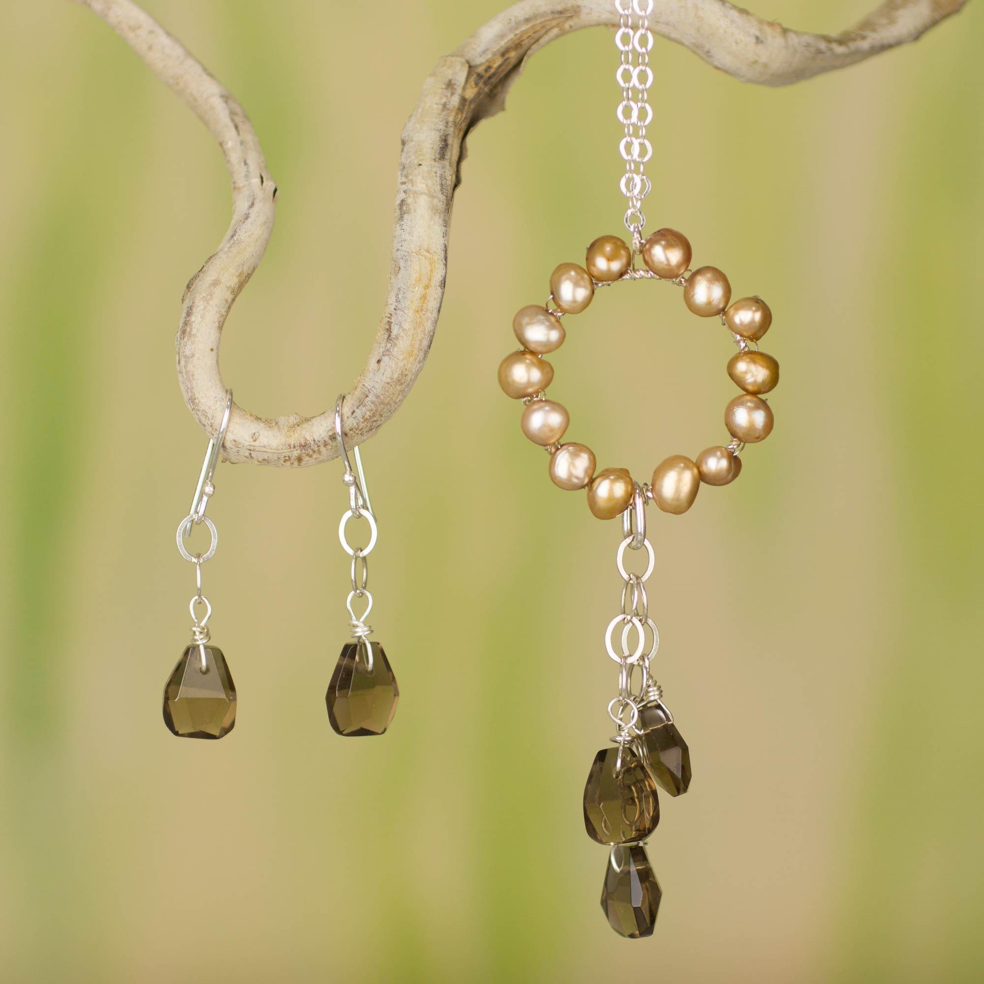 Pearl Smoky Quartz Jewelry Set From Mexico Waterfall Novica
