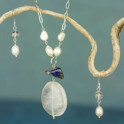 Cultured pearl and quartz jewelry set, 'Harmonious Reflections' - Pearl Quartz  and Lapis Lazuli Jewelry Set from Mexico