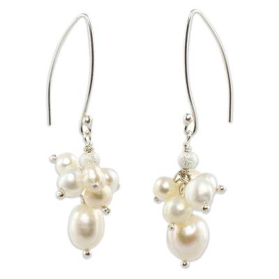 Artisan Crafted White Pearl Cluster Earrings