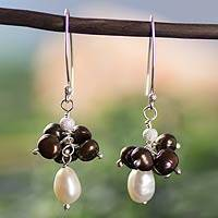 Cultured pearl cluster earrings, 'Acapulco Clouds' - Artisan Crafted Brown and White Pearl Cluster Earrings