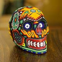 Huichol beadwork sculpture, 'Spiritual Deer Dance' - Huichol Beadwork Day of the Dead Skull
