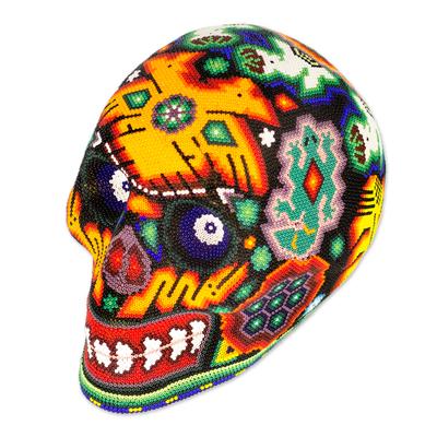 Huichol beadwork sculpture, 'Spiritual Deer Dance' - Huichol Beadwork Day of the Dead Skull