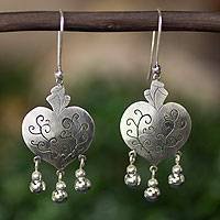 Sterling silver heart earrings, 'Depth of Heart'