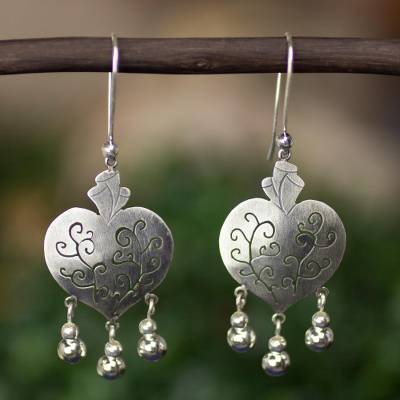 Sterling silver heart earrings, 'Depth of Heart' - Artisan Crafted Earrings Taxco Sterling Silver Jewelry