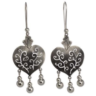 Sterling silver heart earrings, 'Depth of Heart' - Artisan Crafted Earrings Taxco Sterling Silver Jewelry