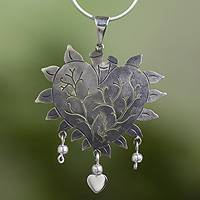 Sterling silver heart necklace, 'Beating Heart' - Taxco Jewelry Hand Made Sterling Silver Necklace