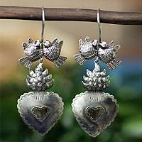 Sterling silver heart earrings, 'Amor Eterno' - Antiqued Sterling Silver Birds and Hearts Earrings